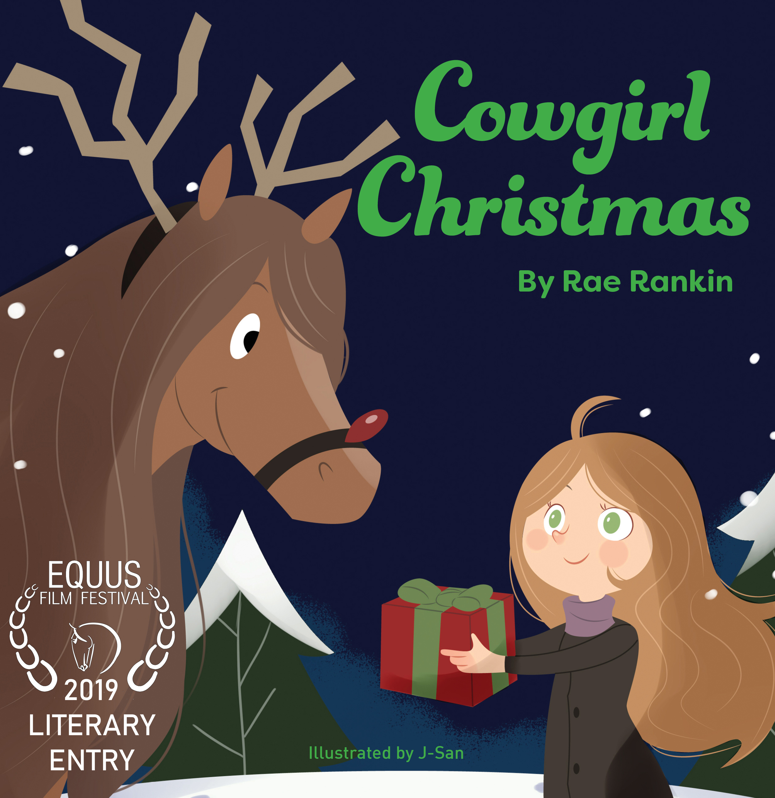 The cover of Cowgirl Christmas. A little girl holding a present and a chestnut horse dressed up as Rudolph the reindeer.