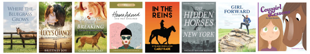 Covers of eight different horse books